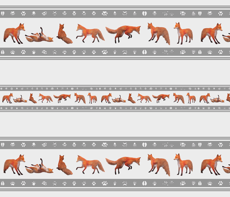 Red Fox Border, Silver fabric by animotaxis on Spoonflower - custom fabric