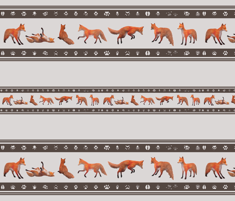 Red Fox Border, Brown fabric by animotaxis on Spoonflower - custom fabric