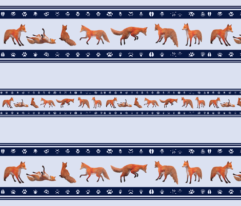 Red Fox Border, Navy fabric by animotaxis on Spoonflower - custom fabric