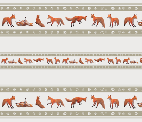 Red Fox Border, Taupe fabric by animotaxis on Spoonflower - custom fabric