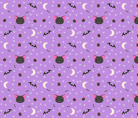 Kawaii Kitty n Bats fabric by eerie_doll on Spoonflower - custom fabric