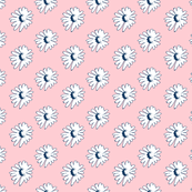 Navy daisies on pink