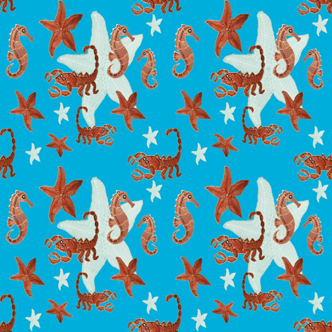 Starfish and friends-blue fabric by upcyclepatch on Spoonflower - custom fabric