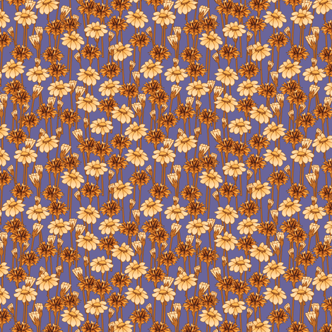 bachelor_buttons_and_daisies_gilded_lilac fabric by glimmericks on Spoonflower - custom fabric