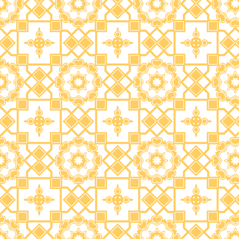 Sunshine Hearts in My Window - Daffodil Yellow on White fabric by rhondadesigns on Spoonflower - custom fabric