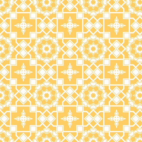 White Hearts in My Sunshine Window - White on Daffodil Yellow fabric by rhondadesigns on Spoonflower - custom fabric