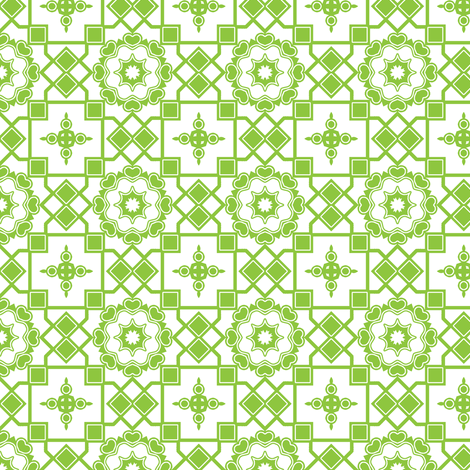 Green Hearts In My Window. fabric by rhondadesigns on Spoonflower - custom fabric