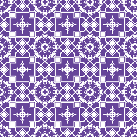 White Hearts In My Purple Window. fabric by rhondadesigns on Spoonflower - custom fabric