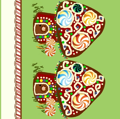 gingerbread shroomhouse border fabric by paragonstudios on Spoonflower - custom fabric