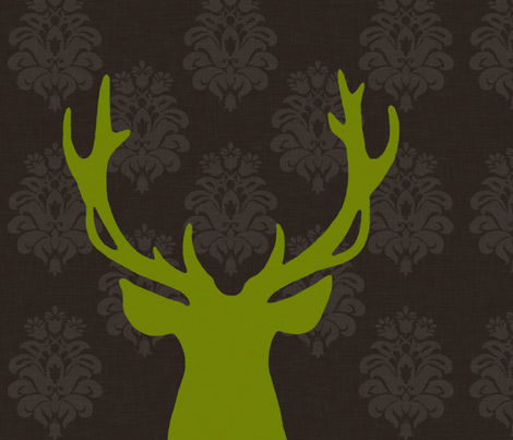 green deer fabric by nattnattura on Spoonflower - custom fabric