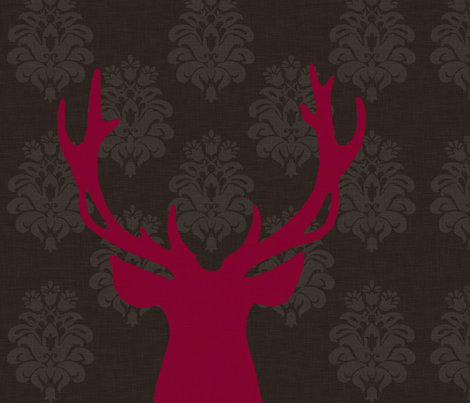 deer red fabric by nattnattura on Spoonflower - custom fabric
