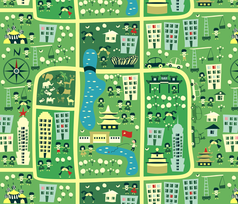 seamless map of beijing fabric by anastasiia-ku on Spoonflower - custom fabric