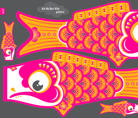 Koi No Bori Kite Pattern fabric by zesti on Spoonflower - custom fabric