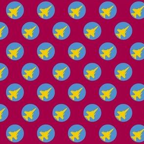 CF-18 Jet yellow blue dots