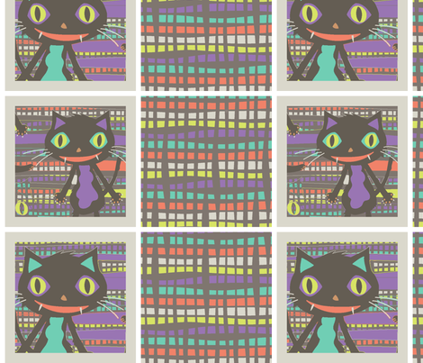 Rocket Cat coordinates fabric by mktextile on Spoonflower - custom fabric