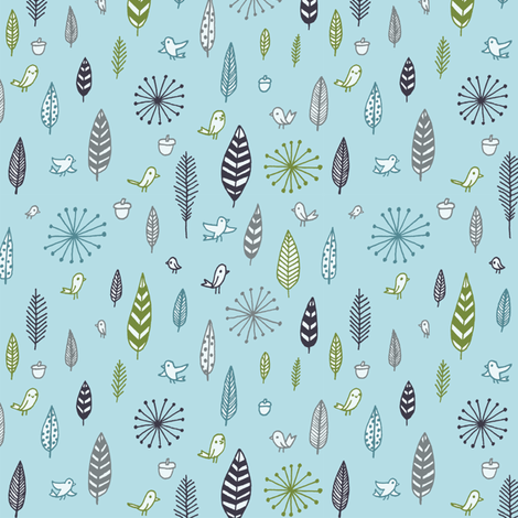 birds and feathers - small print on blue fabric by liz-adams on Spoonflower - custom fabric