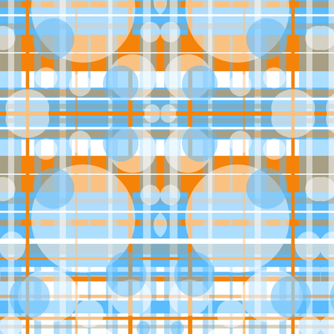 Bubbles of Orange, Grey, Blue fabric by bettinablue_designs on Spoonflower - custom fabric