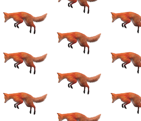 Red Fox Leaping, L fabric by animotaxis on Spoonflower - custom fabric