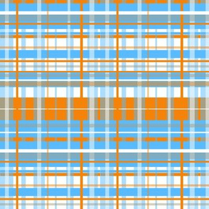 Plaid of Orange, Grey, Blue