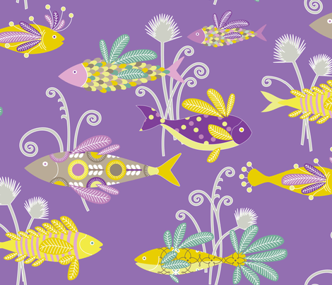 Fine Feathered Friends - aubergine fabric by kayajoy on Spoonflower - custom fabric