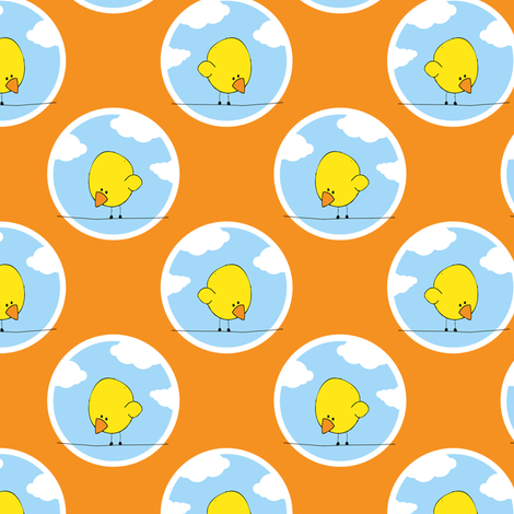 Bird on a Wire - Orange fabric by shelleymade on Spoonflower - custom fabric