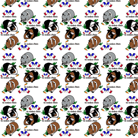 Guinea Pig French fabric by upcyclepatch on Spoonflower - custom fabric