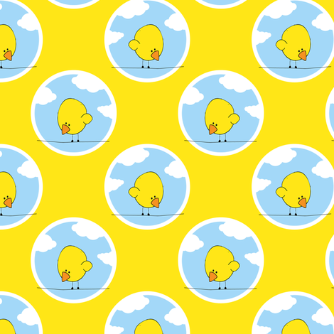 Bird on a Wire - Yellow fabric by shelleymade on Spoonflower - custom fabric
