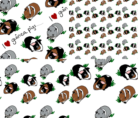 4 in 1 Guinea Pigs fabric by upcyclepatch on Spoonflower - custom fabric