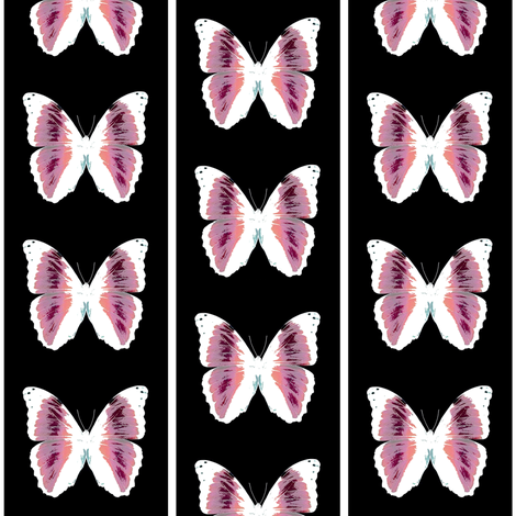 pink butterflies on black fabric by glennis on Spoonflower - custom fabric