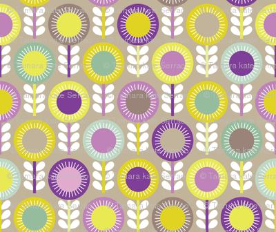 Flower Scales aubergine - multi