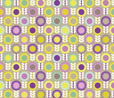 Flower Scales aubergine - multi fabric by kayajoy on Spoonflower - custom fabric