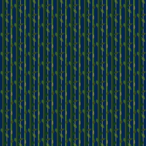 Autumn striped leaves on navy