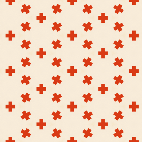 Vintage Orange Crosses fabric by stoflab on Spoonflower - custom fabric