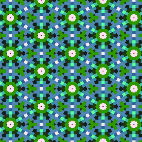 Blue & Green Mosaic fabric by stoflab on Spoonflower - custom fabric