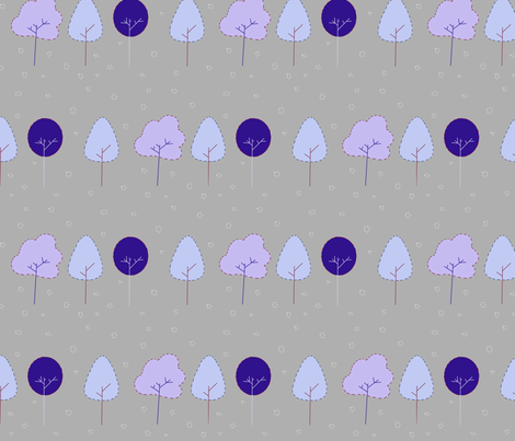 three_blue_trees2 fabric by nunnaba on Spoonflower - custom fabric