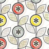 Footnote Flower (Hatch) || midcentury modern garden floral flowers leaves nature upholstery