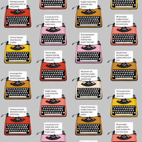 Pangram Typewriters* (Silkscreen) fabric by pennycandy on Spoonflower - custom fabric