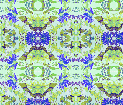 green periwinkle flowers fabric by bettinablue_designs on Spoonflower - custom fabric