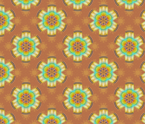 woodduck_rosettes terracotta fabric by glimmericks on Spoonflower - custom fabric