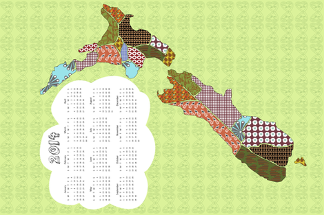 Aotearoa 2014 Calendar fabric by madex on Spoonflower - custom fabric