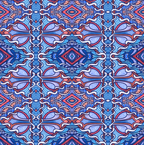 Retro Diamonds in Blue fabric by edsel2084 on Spoonflower - custom fabric