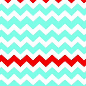 Red and Turquoise Chevron