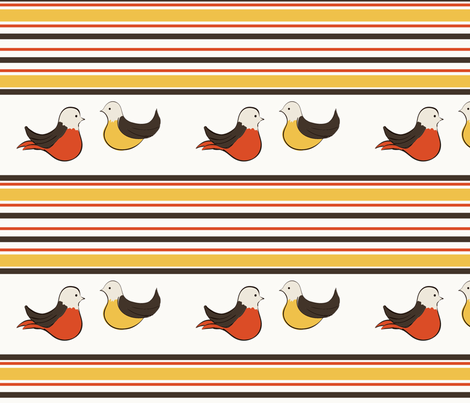 retro birds fabric by suziedesign on Spoonflower - custom fabric