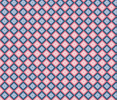 pink blue flower fabric by suziedesign on Spoonflower - custom fabric