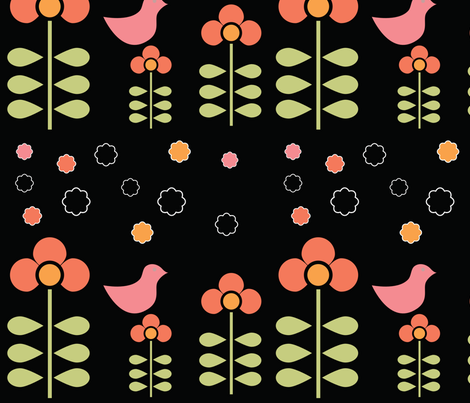 colorful flowers on black fabric by suziedesign on Spoonflower - custom fabric