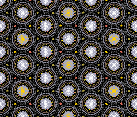 Ornamental Calendar Circles (Black) fabric by pennycandy on Spoonflower - custom fabric