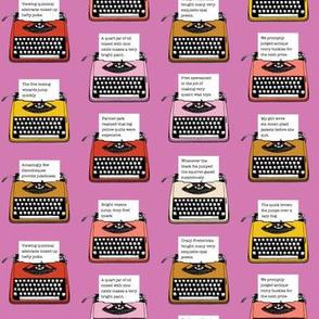 Pangram Typewriters* (Pink Liza) || vintage retro typewriters text typography poetry geek office