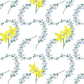 Blue floral spray with daffodils on white