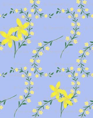 floral spray with daffodils on blue