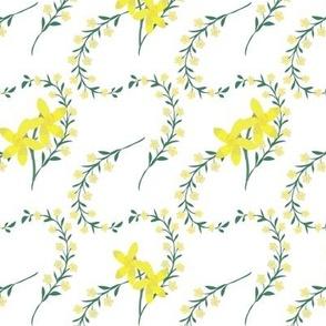 Yellow floral spray with daffodils on white